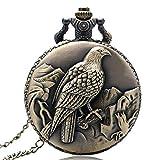 YHWW Taschenuhr Antike Bronze-Art-Weinlese-Adler-Quarz-Taschenuhr mit Halsketten-Kettenanhänger-Geschenk für Mann-Frauen