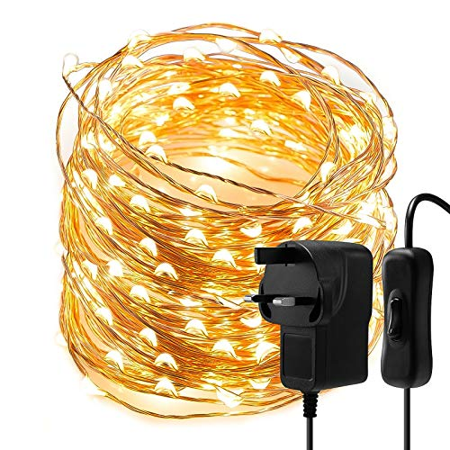 Christmas Fairy Lights String Lights - 10M 100 LEDs Warm White Copper Wire String Lights Mains Powered, Waterproof Fairy Light Plug in for Party, Wedding, Bedroom, Indoor, Outdoor