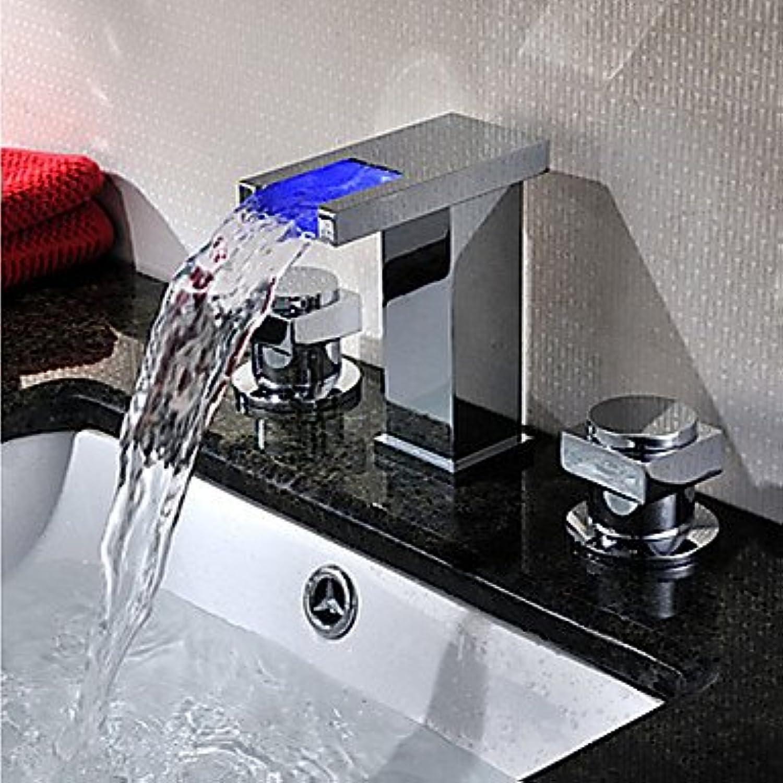 ZLL Art Deco Retro   moderne weit verbreiteten LED   Wasserfall   weit verbreitet mit Keramik Ventil zwei Griffen drei Lcher für Chrome