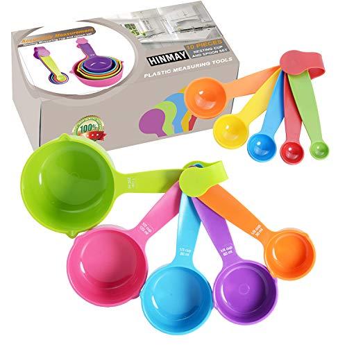 HINMAY - Juego de 10 tazas y cucharas medidoras (colores aleatorios)
