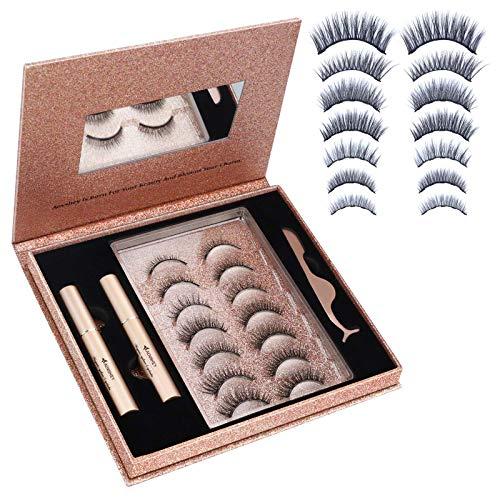 AOVSHEY Upgraded Magnetische Wimpern Eyeliner Set, 7 Paar Natürlich 3D Wiederverwendbar 5 Magnete Falsche Magnetic Eyelashes, 2 Tubes of 5ML Wasserdicht Magnetischer Eyeliner, Ideal für Geschenk