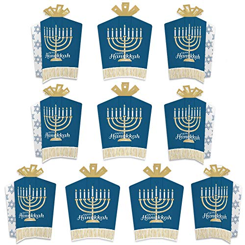 Big Dot of Happiness Happy Hanukkah - Table Decorations - Chanukah Holiday Party Fold and Flare Centerpieces - 10 Count