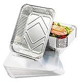 25 Bandejas de Aluminio Desechables con Tapas, 22 x 17 cm - Perfecto para Hornear, Asar y Cocinar -...