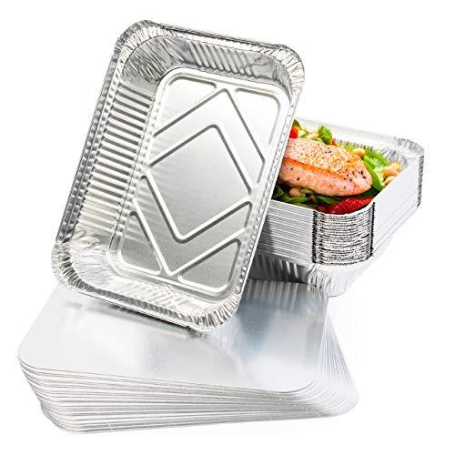 25 Teglie Alluminio Usa e Getta, Vaschette Monouso, Contenitori Alluminio con Coperchio, 22 x 17 cm - Perfette per Cottura al Forno, Arrostire e Cucinare - Robusto e Impermeabile.