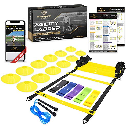 Best Ladder Agility and Speed Training Equipment Set for Improving Footwork, Football, Exercise, Workout – Double Your Athletic Results with Included Ladder Agility and Speed Training Program