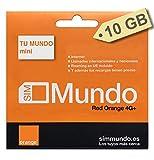 Orange - Tarjeta SIM Prepago (Tu Mundo Mini) 10 GB en España | 400 Minutos Nacionales e internacionales | 10 GB Roaming en Europa | Activación Online | Velocidad 4G