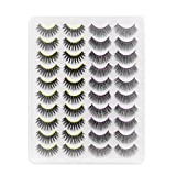 CINLITEK 3D Handmade Mink Lashes 20 Pairs 2 Styles Mixed False Eyelashes/Lashes Pack, Natural and Dramatic Look Lashes Makeup Fake Eyelashes(20CK03)
