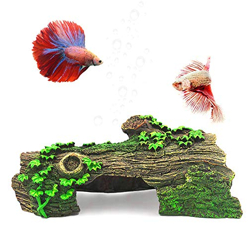 Anxyuan Hide Hollow Tree Log Decaying Trunk, Resin Wood Decoration Fish Tank Aquarium Ornament with Green Grass Hide-Away Holes for Fish and Shrimp to Swim, 10.6'' x 5.9'' x 3.9''