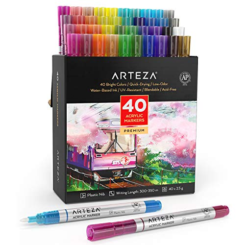Arteza Acrylic Paint Markers, Set of 40 Colors, Long Lasting Acrylic Paint Pens with Plastic Nib, Paint On Metal, Canvas, Rock, Ceramic Surfaces, Glass, Wood, and Fabric