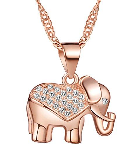 Colgante de Elefante con Brillantes y Circonitas - Plata de Ley 925 (Oro Rosa, Plata)