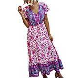 Sommerkleid Damen Lang Kleid, Frauen Floral V-Ausschnitt Solid Beach Style Bandage Kurzarm Langes Kleid Strandkleid Blumenkleid Sommerkleid