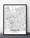 ZWXDMY Leinwand Bild,Kanada Markham Stadtplan Schwarz Weiß