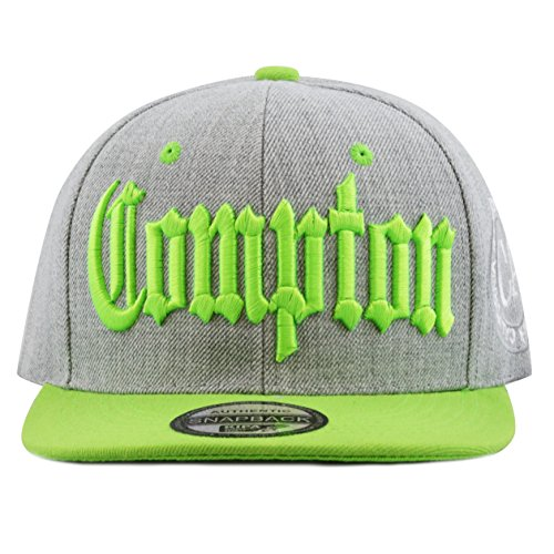 The Hat Depot 1300B Premium Quality Compton 3D Embroidered Heather Grey Snapback Hat (Lime)