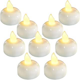 AMERTEER Waterproof Flameless Floating LED Candles, 12 Pack Warm White Battery Flickering LED Tea Lights Candles for Cente...