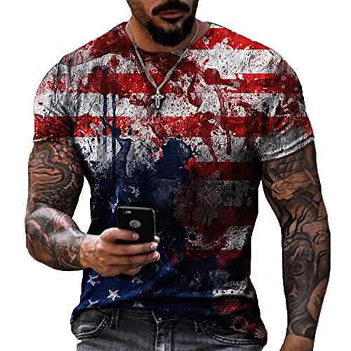 kewing 3D USA Bandera Impreso Casual T-Shirt Hombres Personalizados Manga Corta Cuello Redondo Streetwear Biker Motocicleta Tops