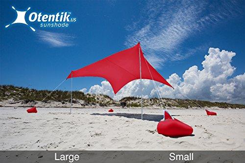 Otentik Beach Sunshade Sandbag Anchors - The Original Sunshade Since 2011 (Two-Tone, Orange-Grey, Large 8.5 x 9 ft 7 ft Tall - up to 7 People)