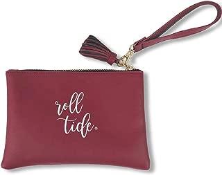 Desden University of Alabama Crimson Tide Vegan Wristlet with Strap and Tassel. Stadium Approved.