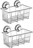 SANNO Suction Cup Shower Caddy,Bathroom Caddies Adhesive Pads Deep Large Basket Shelf,Bath Organizer Kitchen Storage Basket for Gel Holder Shampoo, Conditioner -2 pack
