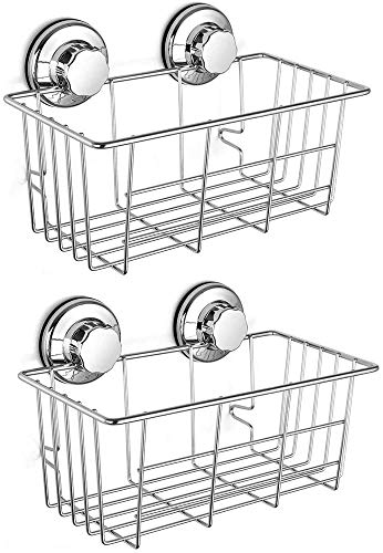 SANNO Two Suction Shower Caddies,Adhesive Pads Deep Large Basket Shelf with...