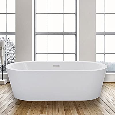 "Woodbridge B0002 67"" Acrylic Freestanding Bathtub Contemporary Soaking Tub with Brushed Nickel Overflow and Drain, B-0002 / BTA1504"