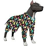 LovinPet Big Dog/Full Belly Coverage/for Big Dogs/Pullover Pitbull Shirt for Men Big Dogs/Fruit Popsicle Frozen Black Prints/Lightweight Big Dogs Pullover, Full Coverage Large Breed Dog Pjs