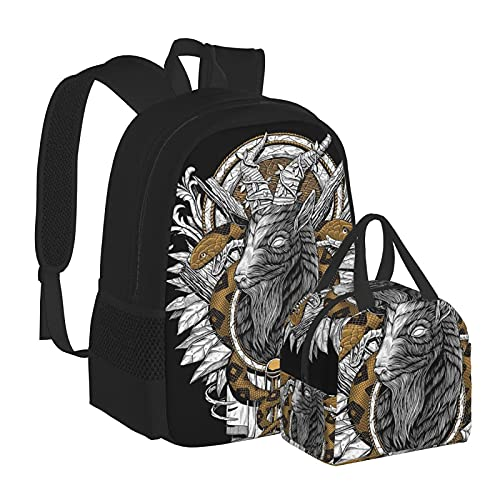 Zaino per la scuola con serpente satanico per scuola universitaria e ragazze per bambini, resistente all'acqua, per computer portatile, borsa casual con borsa termica per il pranzo