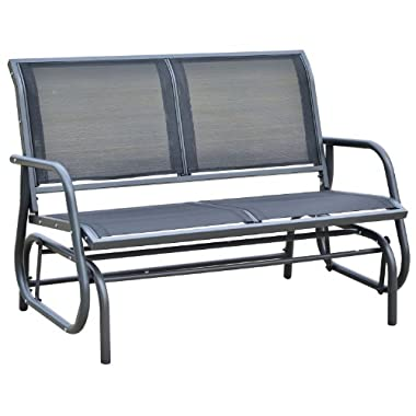 Outsunny 48  Outdoor Patio Swing Glider Bench Chair - Dark Gray