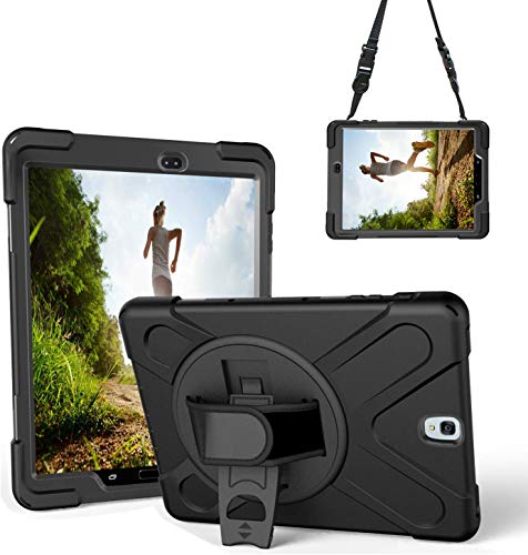 Gerutek Custodia per Samsung Galaxy Tab S3 da 9,7 pollici, custodia robusta resistente agli urti SM-T820 / T825 / T827, con cavalletto, cover protettiva per mano/tracolla per Samsung Tab S3, Nero