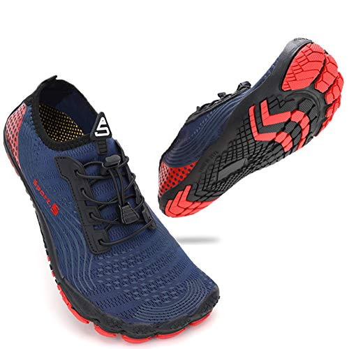 ZHR Mens Water Shoes Quick Dry Aqua Shoes for Swim Beach Surf Navy Red UK9