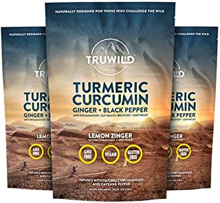 Turmeric Curcumin Drink Mix Powder + Organic Curcuminoid Black Pepper, Ginger, Cayenne Pepper, Lemon, Himalayan Salt - Nat...