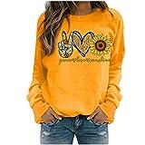 ReooLy Winter Tops Casuales para Mujer Sudadera con Estampado de Girasol para Mujer Blusa Camiseta...