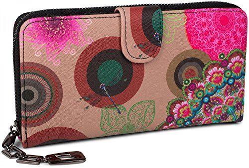 styleBREAKER Geldbörse mit Ethno Blumen und Blüten Muster, Vintage Design, Reißverschluss, Portemonnaie, Damen 02040040, Farbe:Beige-Braun-Dunkelbraun-Pink