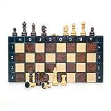 Amazinggirl Schachspiel Schach Schachbrett Holz hochwertig - Chess Board Set klappbar mit Schachfiguren groß für Kinder und Erwachsene 26 x 26 cm - 2