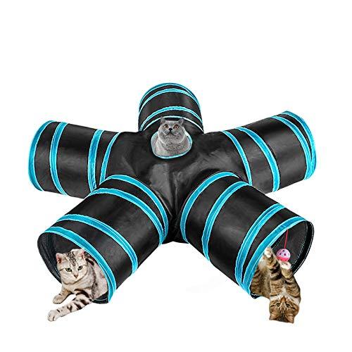 GreeSuit Túneles de Gato Tubo de Juego de Gato de 5 vías Juguetes interactivos para Gatos Plegables con Bola de Juguete con Orificio para Interior Gato Cachorro Conejo Gatito Hurón