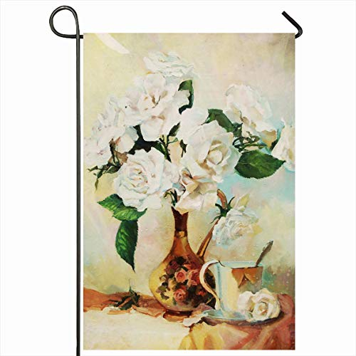 Onete Garden Flag 12x18 Inches Drawing Oil Flowers Still Sliced Life Peonies Smell Painting Objects Paint Beautiful Artist Beauty Outdoor Seasonal Home Decor Welcome House Yard Banner Sign Flags