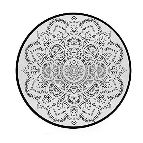 Runde Fußmatte von Bohemian Mandala, klassisches Design, bedrucktes Muster, Durchmesser 92 cm, maschinenwaschbar, für Wohnzimmer, Schlafzimmer, Kinderspielzimmer