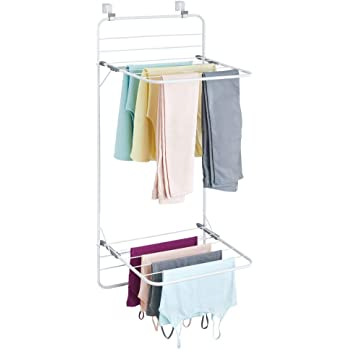 mDesign Long Metal Lightweight Over Door Laundry Drying Rack Organizer, 2 Tiers - for Indoor Air Drying and Hanging Clothing, Towels, Lingerie, Hosiery, Delicates - Folds Compact - White/Gray