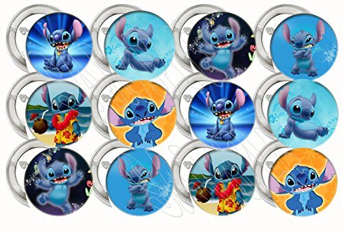 """Lilo and Stitch, Stitch ONLY Party Favors Supplies Decorations Collectible Metal Pinback Buttons Pins, Large 2.25"""" -12…"""