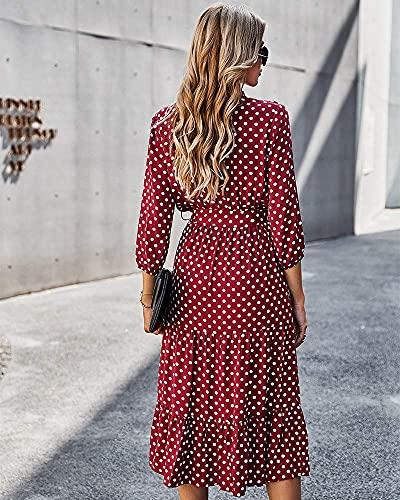 ZIYYOOHY Vestido de verano para mujer, estilo retro, manga 3/4, con cuello en V, con volantes rojo S