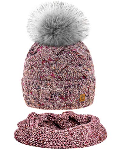 MFAZ Morefaz Ltd Set Mütze & Schal Winter Damen Alpaka Wolle Beanie Strickmütze Wurm Fleece Bommel Pom Pom (Rose Pink Set Hat&Scarf)