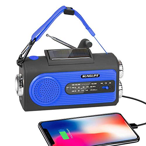 SUNGLIFE Solar Crank NOAA Weather Radio for Emergency with AM/FM, Flashlight, Reading Lamp, 2000mAh Power Bank USB Charger and SOS Alarm, Blue