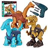 Dinosaurios Juguetes, Desmontaje Dinosaurios Juguetes con Taladro Eléctrico, Juego Construccion Puzzle Incluye Spinosaurus Braquiosaurio y Parasaurolophus, Regalo de Cumpleaños para Niños de 3+ Años