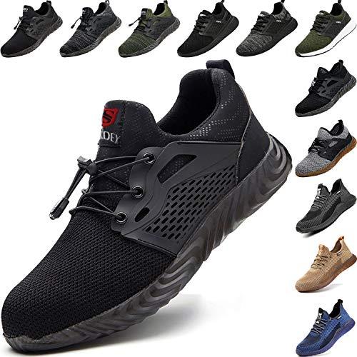 BAOLESEM  S3 Sicherheitsschuhe Herren Arbeitsschuhe Damen Leicht Atmungsaktiv Schutzschuhe Stahlkappe Schuhe, 40 EU, 02 Schwarz