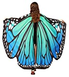 Halloween Shawl Cape Monarch Butterfly Pattern Wings Outfit Costume for Women Big Girls Blue-Green