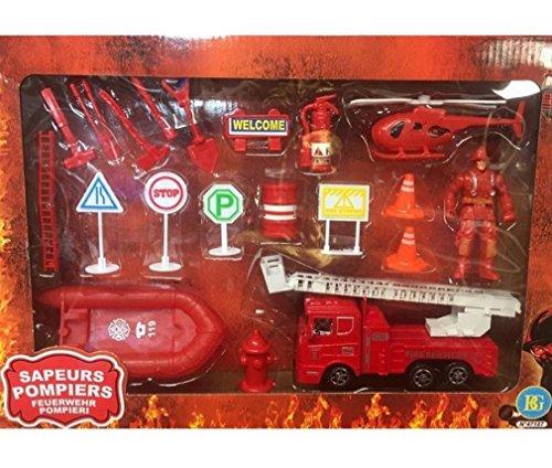 Coffret complet pompiers, camion, personnage et accessoires
