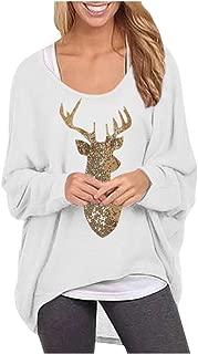 Shusuen Women's Oversize Loose Pullover Christmas Indeer Print Sweatshirt Batwing Sleeve Jumper High Low Hem Tunics Top