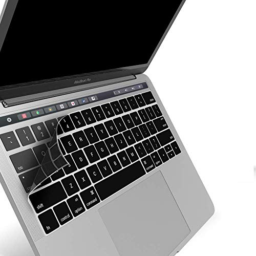 OJOS (TM) Keyboard Skin Cover for Touch Bar Models Newest Version MacBook Pro 13 (A1989/A1706) & MacBook Pro 15 (A1990/A1707) 2018 2017 2016 Release with Touch ID US Layout, Black