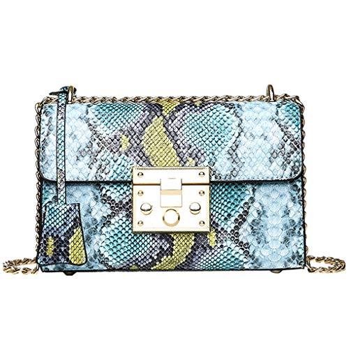 Dorical Wild Damen Schlangenmuster Kette Tasche Handtasche Vielseitig UmhäNgetasche Rucksack Kleine Platz Umhängetasche, PU Leder Schultertasche Messenger Bag(Blau,22cm(L) x8cm(W) x15cm(H))