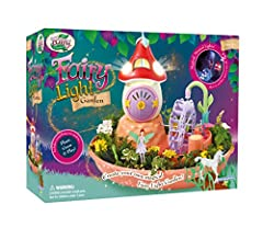 Grow your own garden for fairy Saffron and unicorn friend Calista Playset includes everything needed to plant, grow, and play Blow on the mushroom home to activate light and music Add water to the wheel and press the pump for movement Set contains Fa...