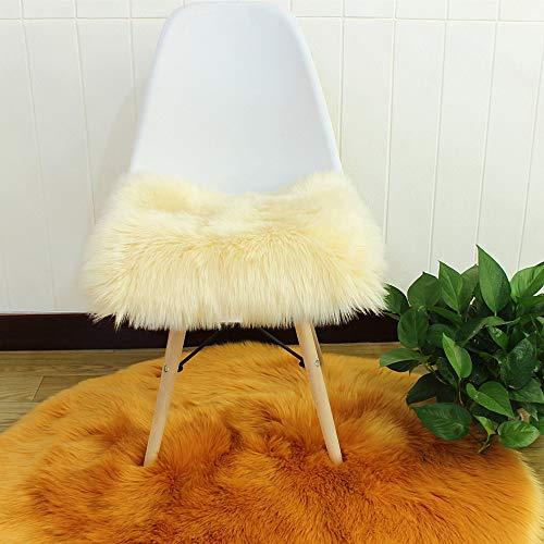 Nicole Knupfer Faux Lammfell Sitzkissen, Schaffell Sitzauflage Longhair Fell Optik Nachahmung Wolle Sofa Matte (Beige,40 * 40cm)